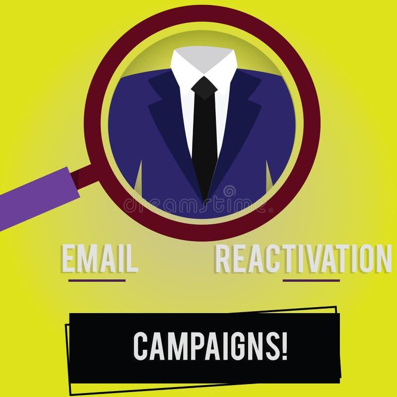 Handwriting teksta emaila reaktywacji kampanie Pojęcia znaczenie Wywoływał emaila dla sypialnych abonentów Powiększa - szkło ilustracja wektor