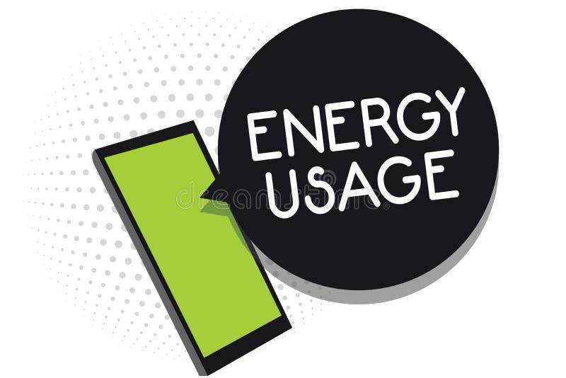 Handwriting teksta energii użycie Pojęcia znaczenia kwota spożywająca lub używać w telefonu komórkowego odbiorczym tekscie energi royalty ilustracja