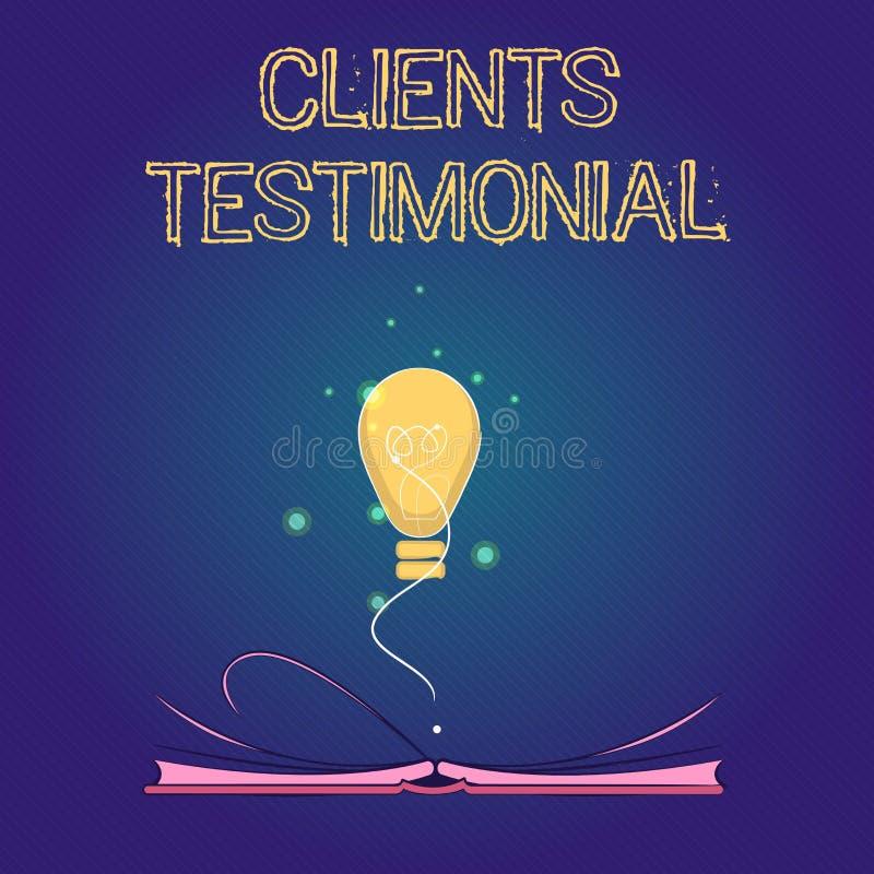 Handwriting teksta klientów Testimonial Pojęcie znaczy Formalnego oświadczenie Zeznaje Szczerego poparcie Inny ilustracji
