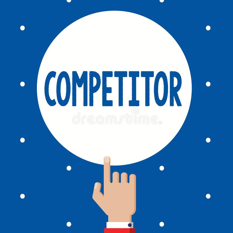 Handwriting teksta konkurent Pojęcia znaczenia osoba która bierze część w sportowego konkursu reklamy rywalizaci zdjęcia stock