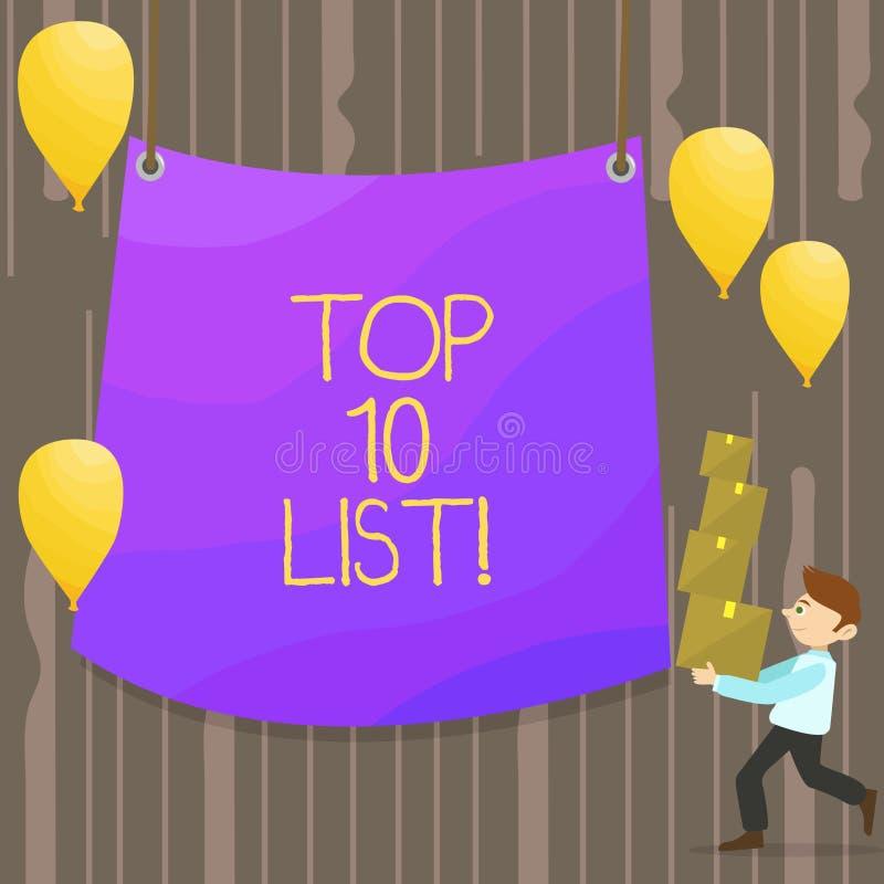 Handwriting teksta listy pojęcie znaczy wysokie zaliczać się demonstratings rzeczy w mężczyźnie lub miejsca Top 10 grupy lub kate ilustracji