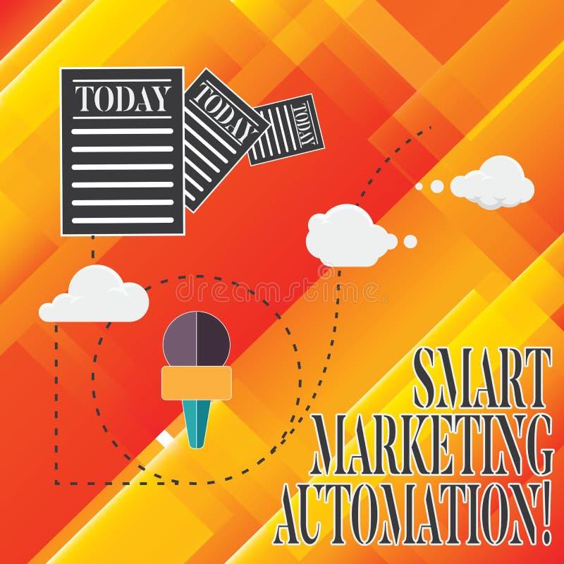 Handwriting teksta Mądrze Marketingowa automatyzacja Pojęcia znaczenie Automatyzuje online kampanie marketingowe i sprzedaże Ewid ilustracja wektor