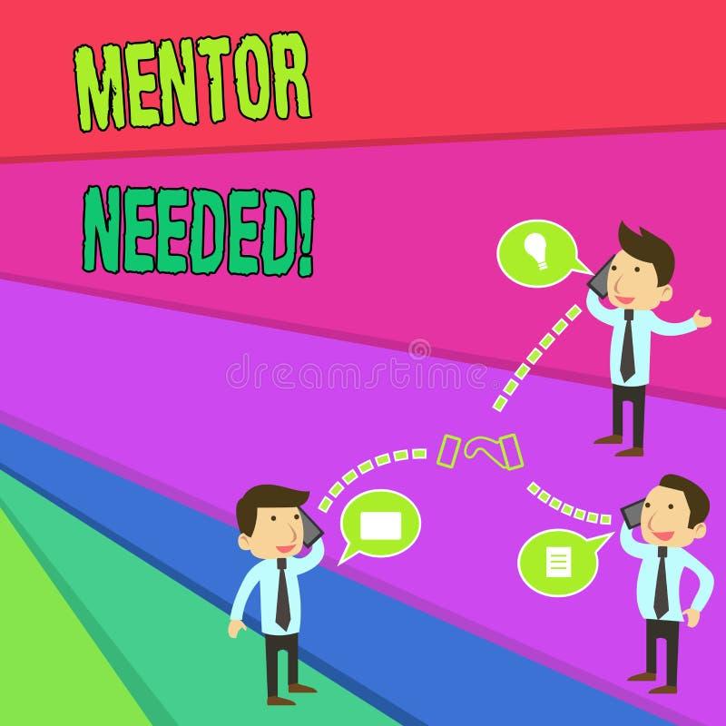 Handwriting teksta mentor Potrzebuj?cy Poj?cia znaczenia pracownika szkolenie pod seniorem wyznacza? post?puje jako advisor bizne ilustracja wektor