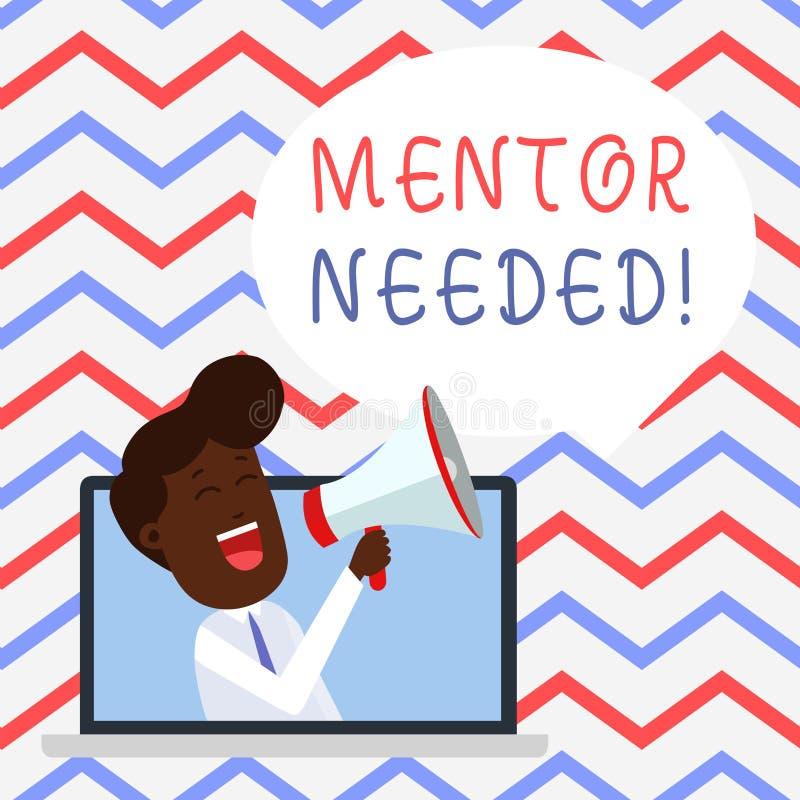 Handwriting teksta mentor Potrzebuj?cy Poj?cia znaczenia pracownika szkolenie pod seniorem wyznacza? post?puje jako advisor ilustracja wektor