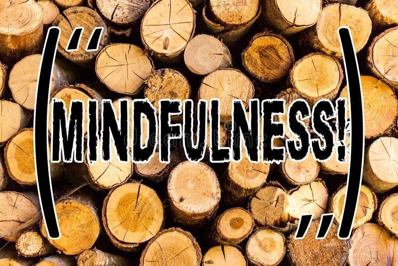 Handwriting teksta Mindfulness Pojęcia znaczenie Jest Świadomym świadomości spokojem Akceptuje myśli i uczucia Drewnianego tło obraz stock