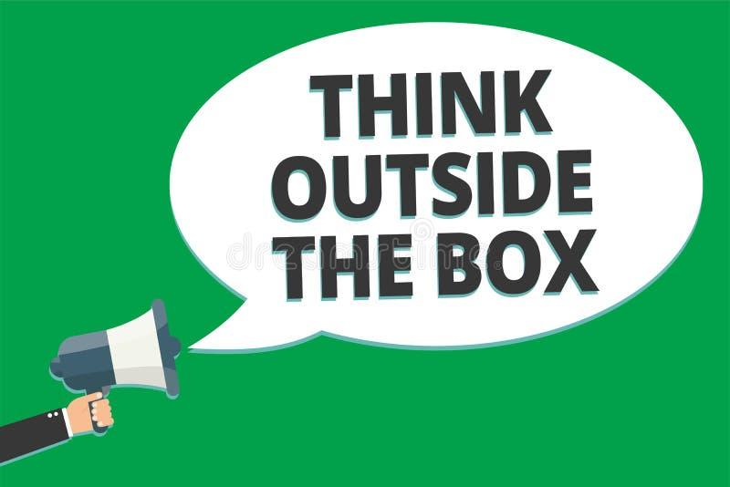 Handwriting teksta myśli Outside pudełko Pojęcia znaczenie Był unikalnymi różnymi pomysłami przynosi brainstorming wiadomości pom royalty ilustracja