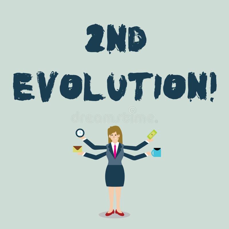 Handwriting teksta 2Nd ewolucja Pojęcia znaczenia zmiana w heritable cechach biologiczny populacja bizneswoman ilustracja wektor