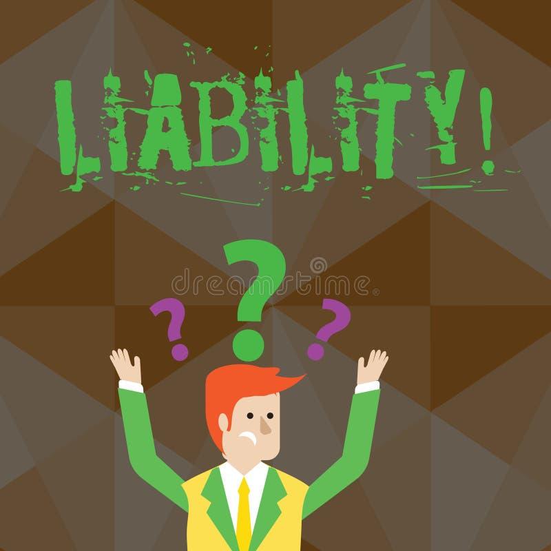 Handwriting teksta odpowiedzialność Pojęcia znaczenia stan być legalnie odpowiedzialny dla coś odpowiedzialność Wprawiać w zakłop ilustracja wektor