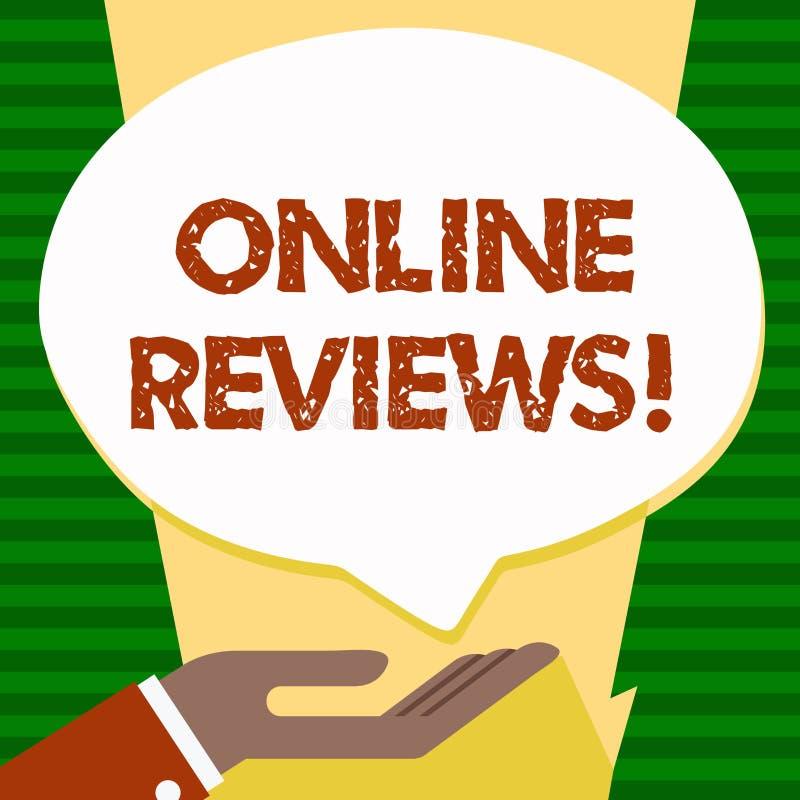 Handwriting teksta Online przeglądy Pojęcia znaczenia cenień klienta Internetowa ocena Opiniuje satysfakcję ilustracja wektor