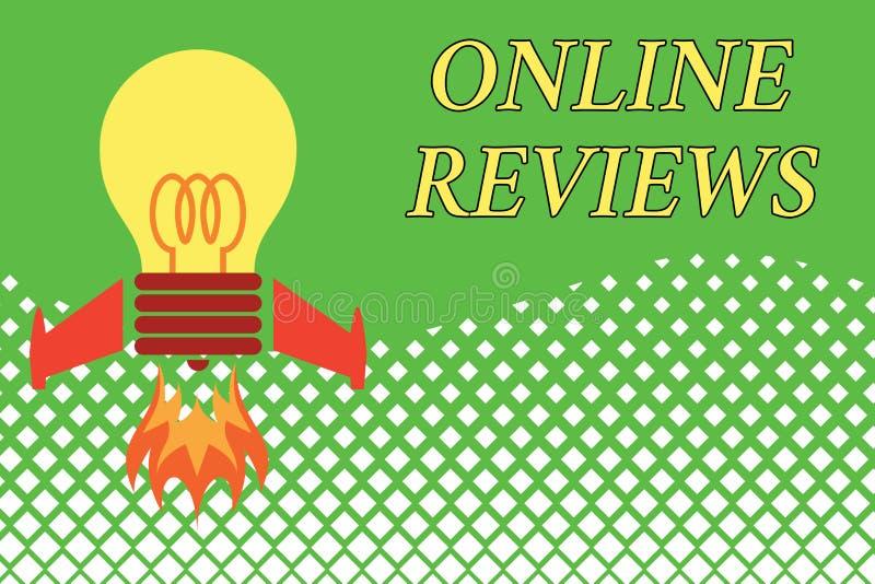 Handwriting teksta Online przegl?dy Pojęcia znaczenia produktu cenienia klienta informacje zwrotne publikuje w strona internetowa ilustracja wektor