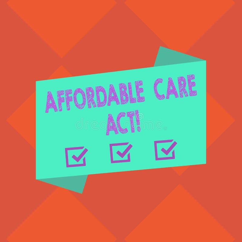 Handwriting teksta opieki Niedrogi akt Pojęcia znaczenia gwarancje które mogą otrzymywać ubezpieczenie zdrowotne Pustego kolor lu ilustracji