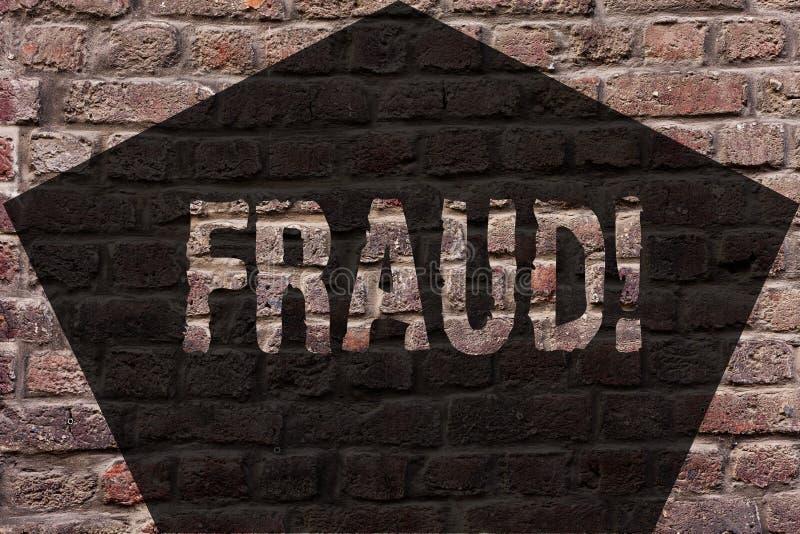 Handwriting teksta oszustwo Pojęcia znaczenia Kryminalny łudzenie dostawać pieniężnym lub demonstratingal zysk ściany z cegieł sz obrazy stock