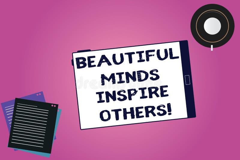 Handwriting teksta Piękni umysły Inspirują Inny Pojęcia znaczenia Pozytywny seans daje inspiracji everyone pastylce ilustracji