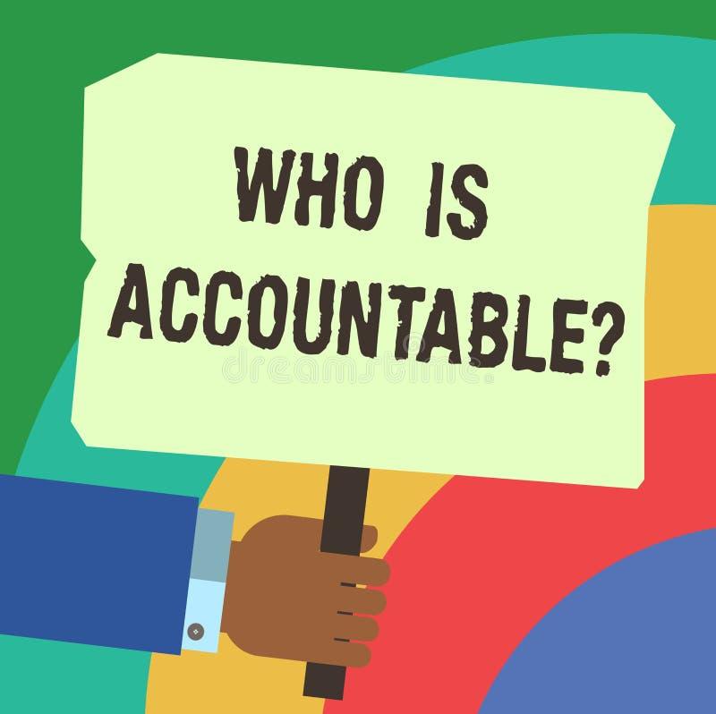 Handwriting teksta pisać Co Jest Accountablequestion Pojęcie znaczy być odpowiedzialny lub odpowiedzialny dla coś Hu ilustracji