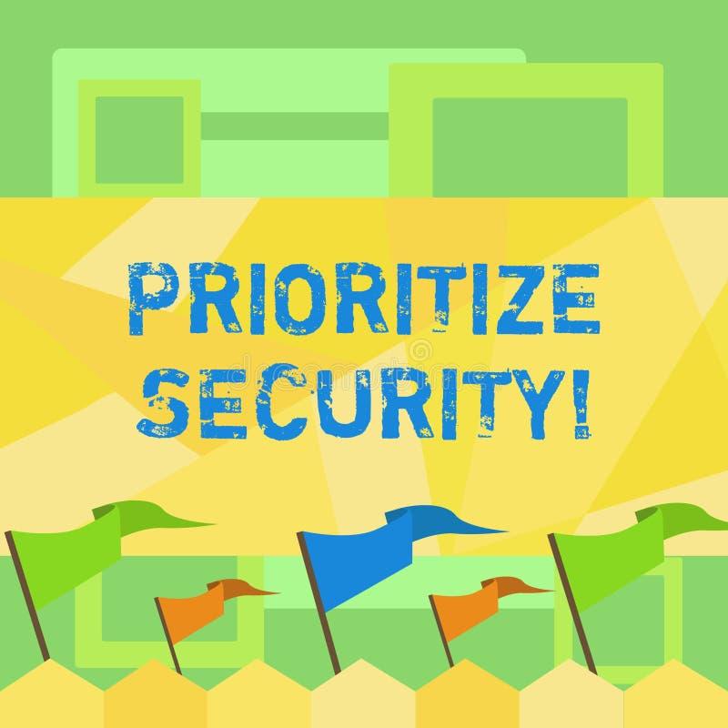 Handwriting teksta pisać Priorytetyzuje ochronę Pojęcia znaczenie wyznacza ochrony ryzyko znacząco rozwiązywać puste miejsce jak royalty ilustracja