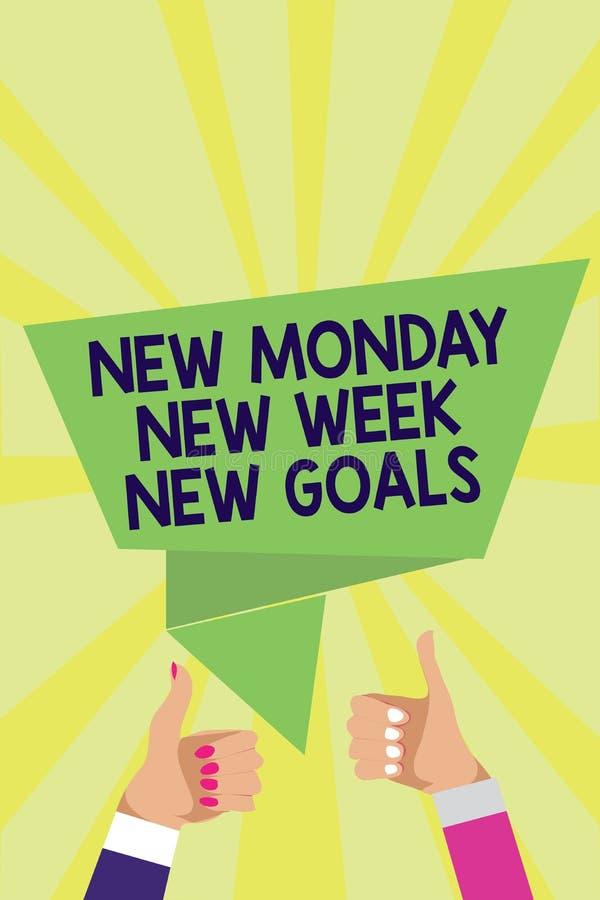 Handwriting teksta Poniedziałku Nowego Nowego tygodnia Nowi cele Pojęcia znaczenie Był pozytywny każdy początek tygodnia mężczyzn obrazy stock