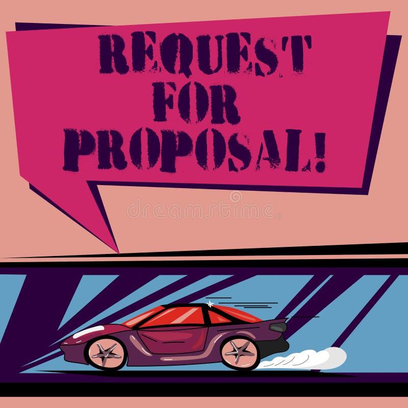 Handwriting teksta prośba Dla propozyci Pojęcia znaczenia dokument który zabiegać o coś propozycję zrobił przez licytuje samochod royalty ilustracja
