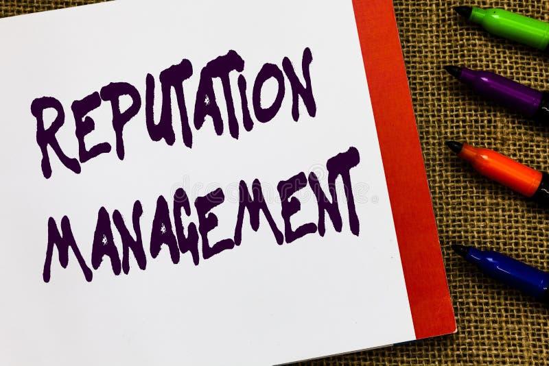 Handwriting teksta reputaci zarządzanie Pojęcia znaczenia oddziaływanie i Kontroluje wizerunku gatunku przywrócenia Otwartego not fotografia stock