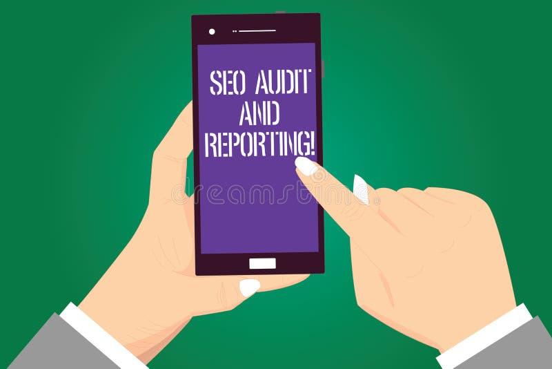 Handwriting teksta Seo reportaż I rewizja Pojęcia znaczenia wyszukiwarki optymalizacji przeglądu informacje zwrotne Hu analiza Wr ilustracja wektor