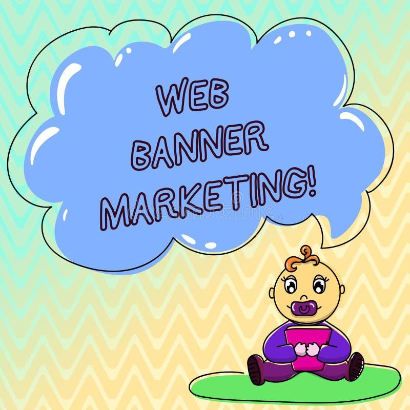 Handwriting teksta sieci sztandaru marketing Pojęcia znaczenie powoduje osadzać reklamę w strony internetowej dziecka obsiadaniu  ilustracji