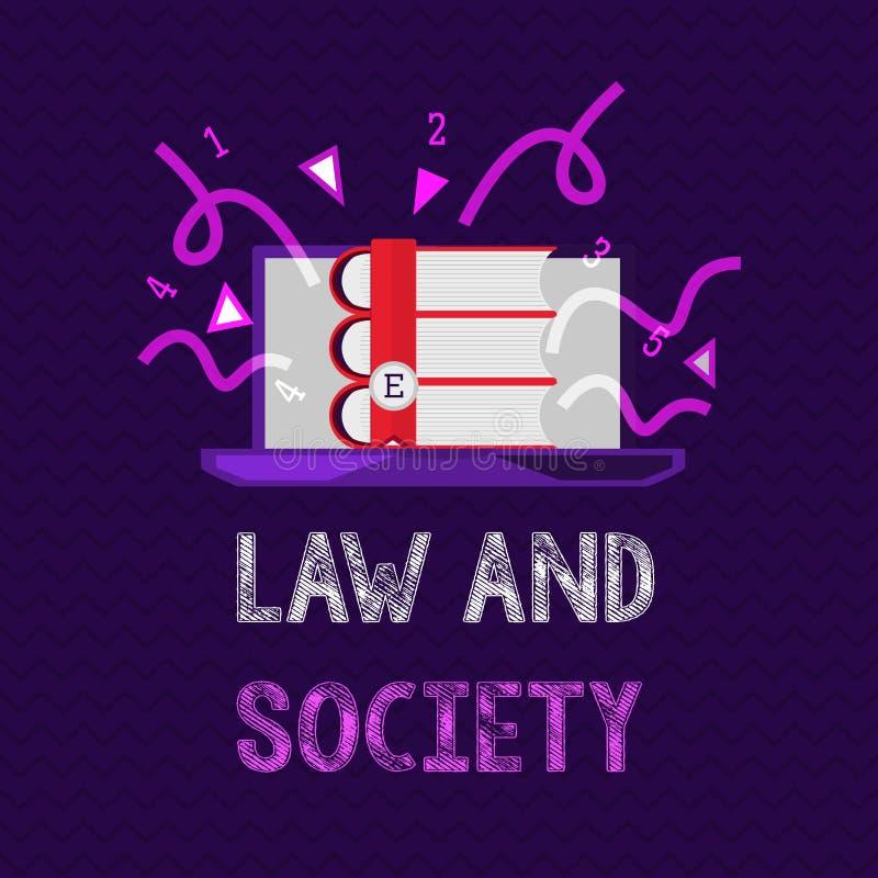 Handwriting teksta społeczeństwo I prawo Pojęcia znaczenia adres wspólny związek między prawem i społeczeństwem ilustracji