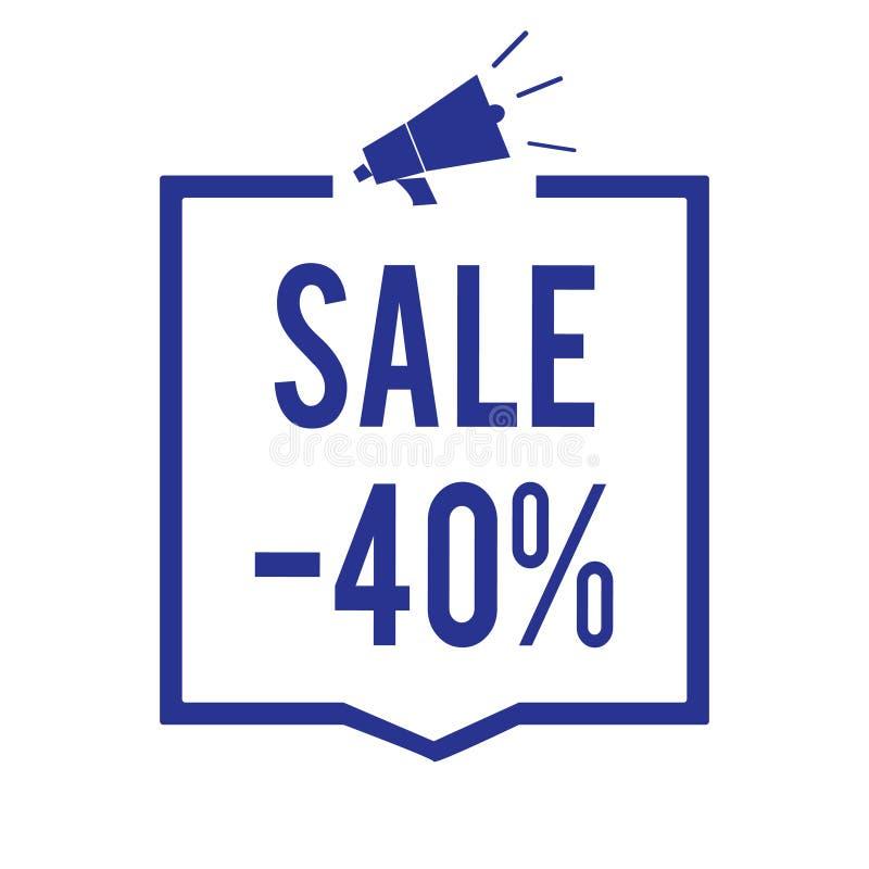 Handwriting teksta sprzedaż 40 Pojęcie znaczy A promo cenę rzecz przy 40 procentów markdown megafonu głośnika błękita ramy commun ilustracja wektor