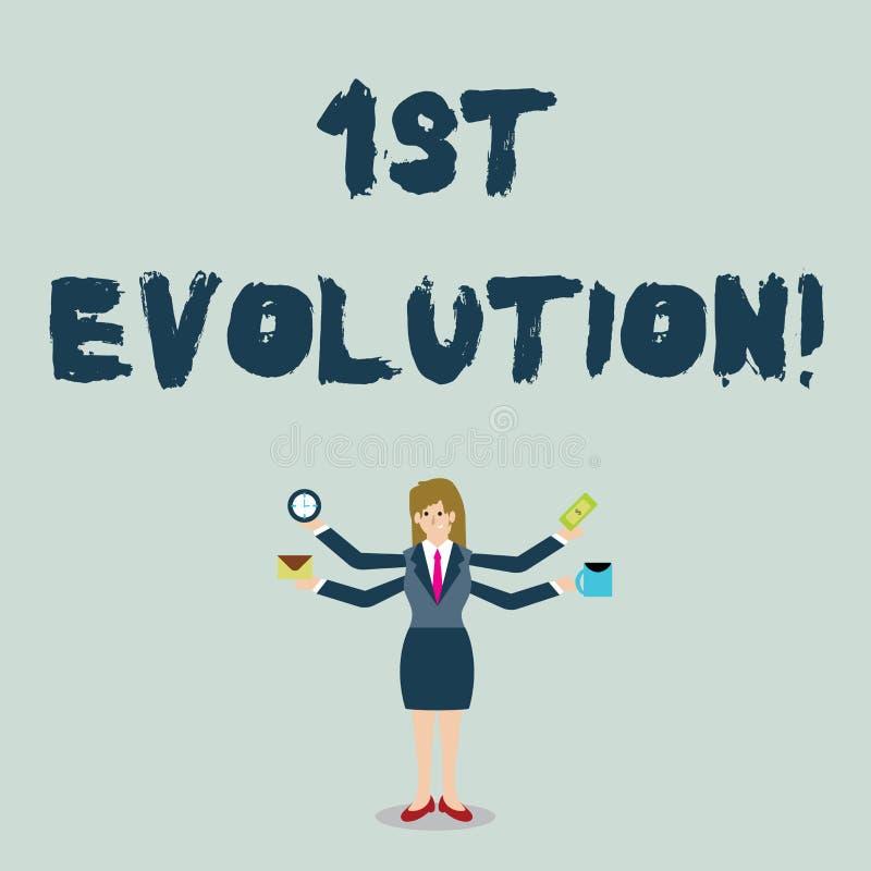 Handwriting teksta 1St ewolucja Pojęcia znaczenia zmiana w genetycznych cechach biologiczny populacja bizneswoman royalty ilustracja