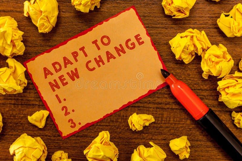 Handwriting teksta writing Adaptuje Nowa zmiana Pojęcia znaczenie Dostaje Używać Opóźniona Mindset i zachowania innowacja obraz royalty free
