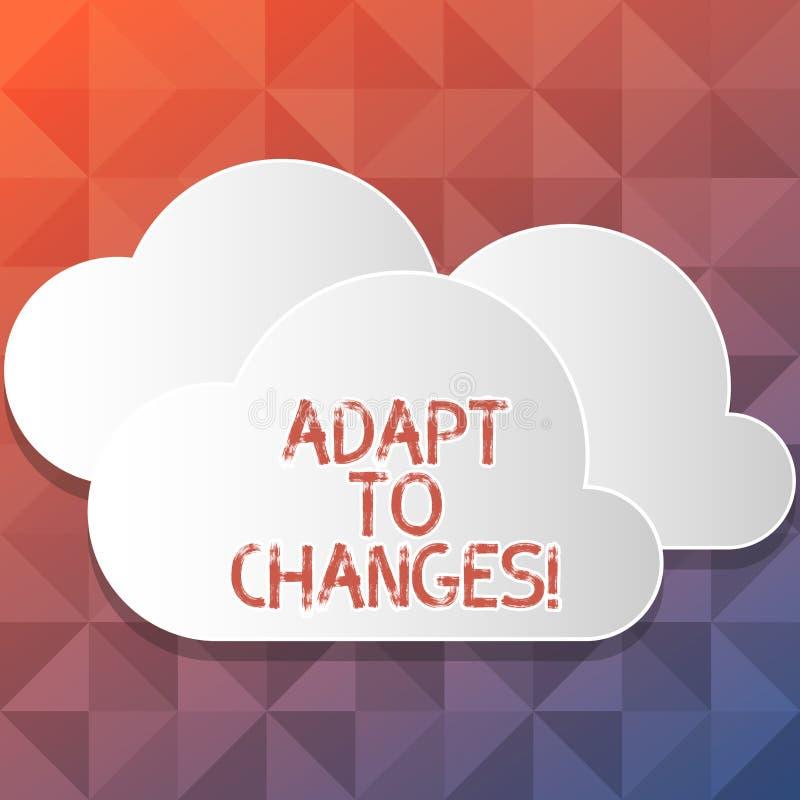 Handwriting teksta writing Adaptuje zmiany Pojęcie znaczy Nowatorską zmiany adaptację z technologiczną ewolucją ilustracja wektor