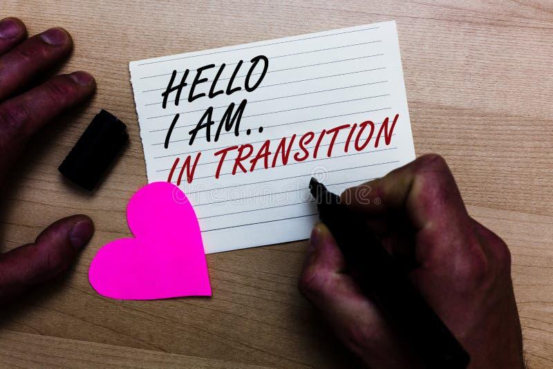 Handwriting teksta writing Cześć Jestem W przemianie Pojęcia znaczenia odmieniania proces Rozwija się planuje nowe rzeczy Pisać n obraz stock