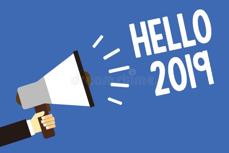 Handwriting teksta writing 2019 Cześć Pojęcia znaczenie Mieć_nadzieja dla wielkości zdarzać się dla nadchodzącego nowego roku męż ilustracji