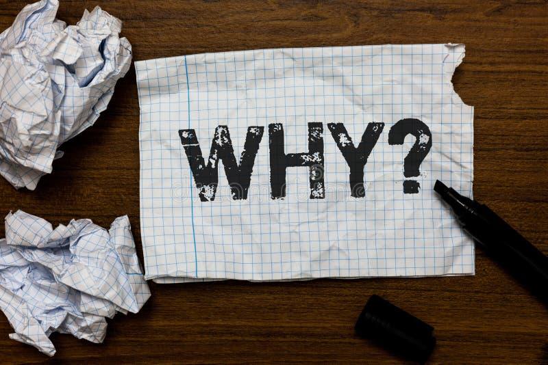 Handwriting teksta writing Dlaczego pytanie Pojęcia znaczenie Pyta dla odmianowych odpowiedzi coś przesłuchuje dowiaduje się pomy obraz royalty free