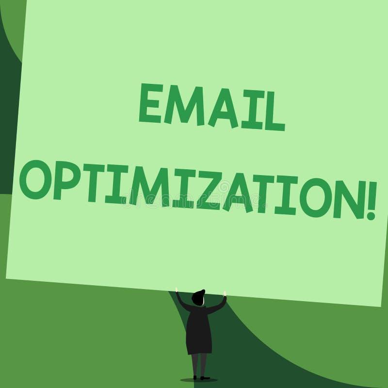 Handwriting teksta writing emaila optymalizacja Pojęcia znaczenie Maksymalizuje skuteczność kampania marketingowa plecy royalty ilustracja
