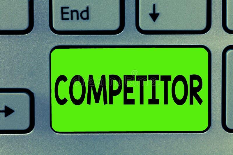 Handwriting teksta writing konkurent Pojęcia znaczenia osoba która bierze część w sportowego konkursu reklamy rywalizaci obraz royalty free