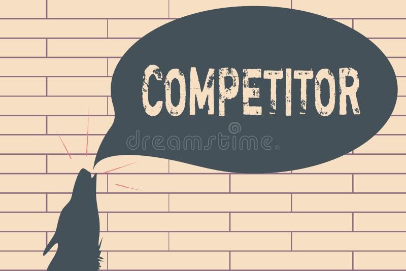 Handwriting teksta writing konkurent Pojęcia znaczenia osoba która bierze część w sportowego konkursu reklamy rywalizaci zdjęcia royalty free