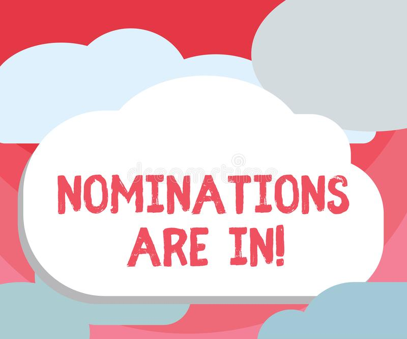 Handwriting teksta writing nominacje Są Wewnątrz Pojęcie znaczy Formalnie Wybierać someone Oficjalny kandydat dla nagrody ilustracja wektor