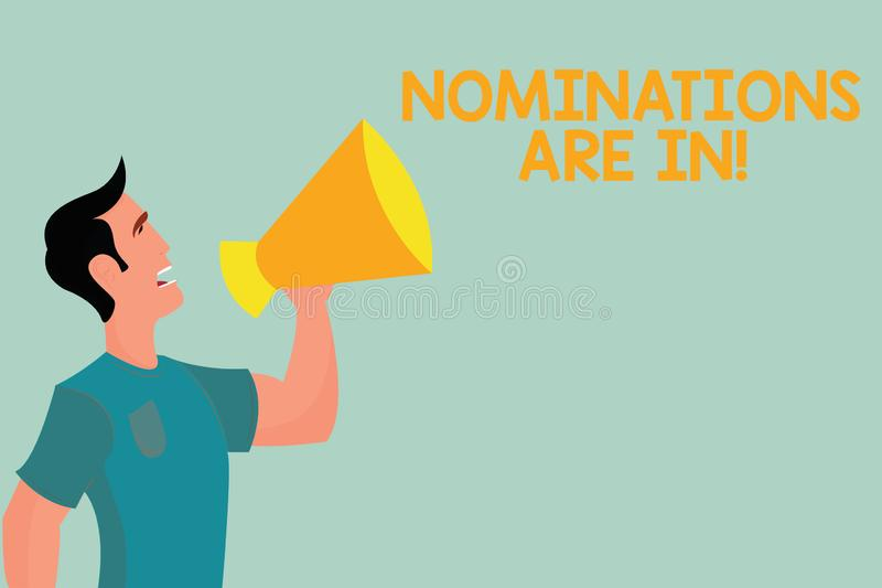 Handwriting teksta writing nominacje Są Wewnątrz Pojęcie znaczy Formalnie Wybierać someone Oficjalny kandydat dla nagrody royalty ilustracja