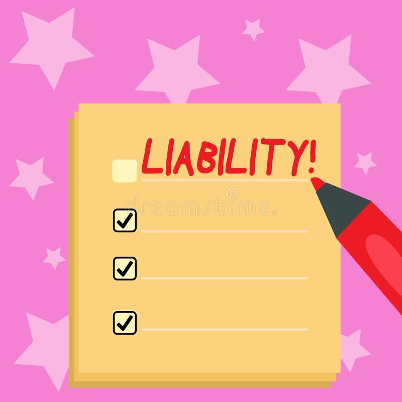 Handwriting teksta writing odpowiedzialność Pojęcia znaczenia stan być legalnie odpowiedzialny dla coś odpowiedzialność ilustracja wektor
