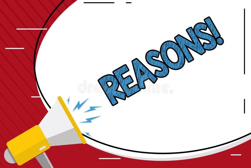 Handwriting teksta writing powody Pojęcia znaczenie Powoduje wyjaśnień uzasadnienia dla wydarzenie motywaci lub akci ilustracji