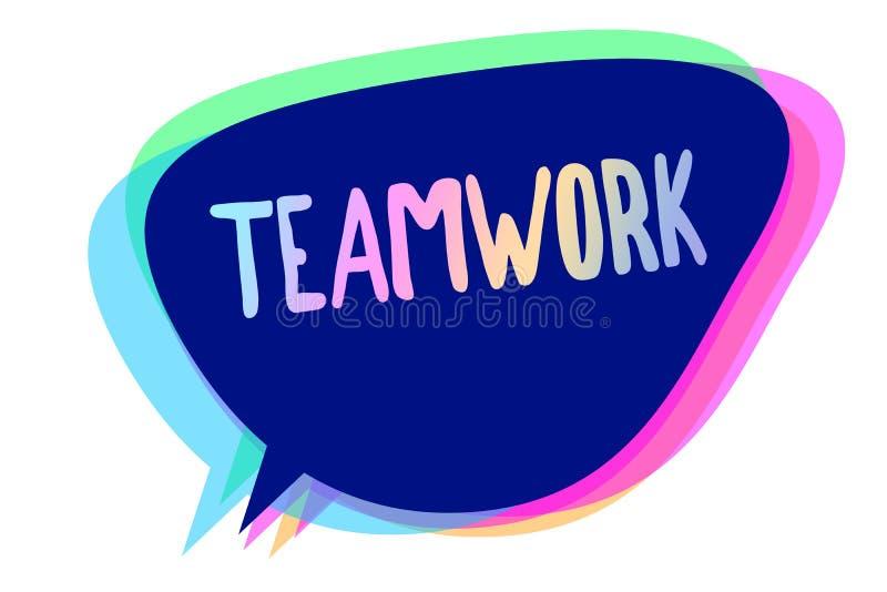 Handwriting teksta writing praca zespołowa Pojęcie znaczy grupy ludzi który pracuje wpólnie jako jeden i z ten sam cel mową ilustracja wektor