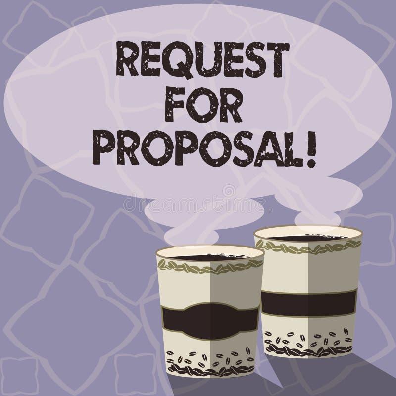 Handwriting teksta writing prośba Dla propozyci Pojęcia znaczenia dokument który zabiegać o coś propozycję zrobił przez licytować royalty ilustracja