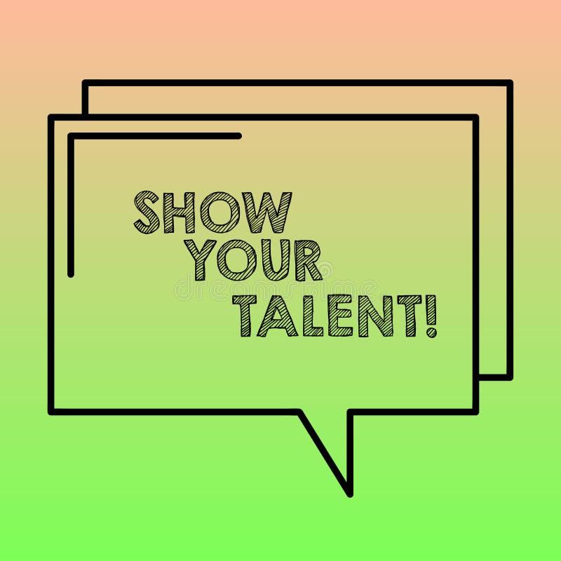 Handwriting teksta writing przedstawienie Twój talent Pojęcia znaczenia zaproszenie pokazywać someone co jest wykwalifikowany lub ilustracja wektor