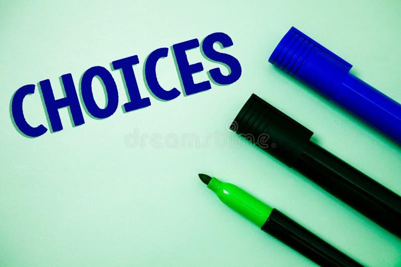Handwriting teksta writing wybory Pojęcia znaczenia dyskreci Preferansowa chęć Odróżnia opcja wyboru pomysłów wiadomości f fotografia stock