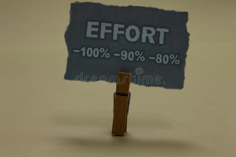 Handwriting teksta writing wysiłek 100 90 80 Pojęcia znaczenie Równy determinaci dyscypliny motywaci Paperclip utrzymuje zdjęcia royalty free