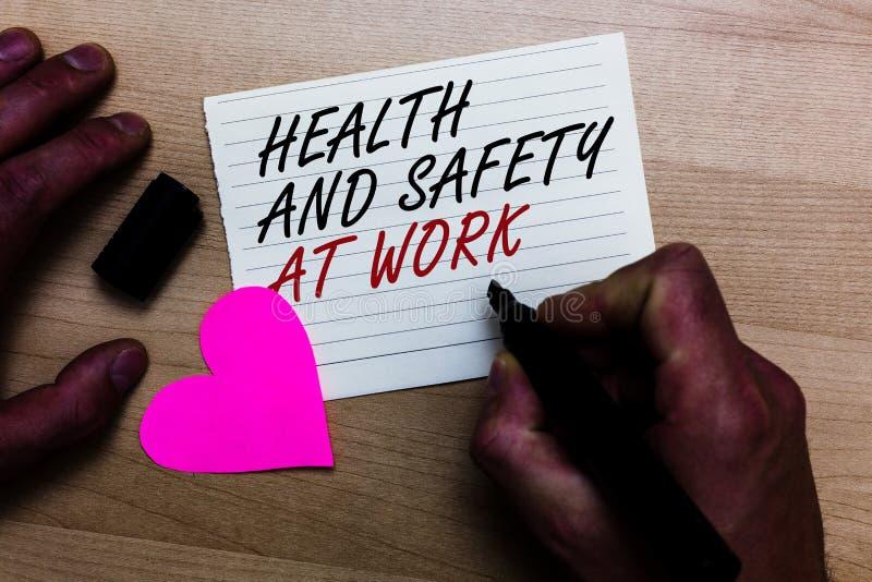 Handwriting teksta writing zdrowie i bezpieczeństwo Przy pracą Pojęcie znaczy Bezpiecznie procedury zapobiega wypadki unika niebe obrazy royalty free