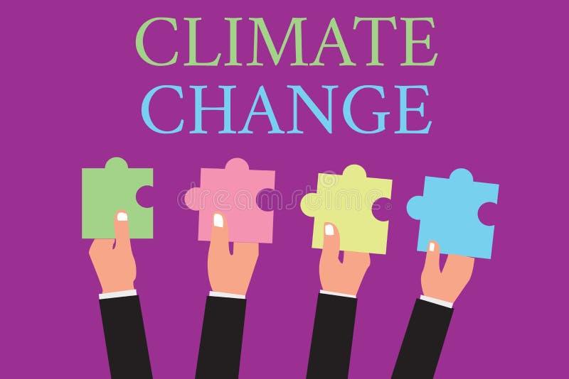 Handwriting teksta writing zmiana klimatu Pojęcia znaczenia wzrost w globalnej średniej temperatury pogody transformaci ilustracji