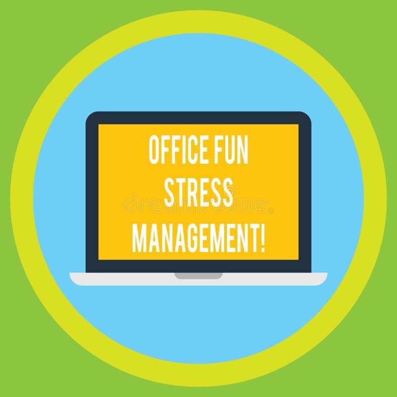 Handwriting teksta zabawy stresu Biurowy zarządzanie Pojęcia znaczenie Relaksuje wolnego czas przy praca momentów laptopu monitor ilustracji