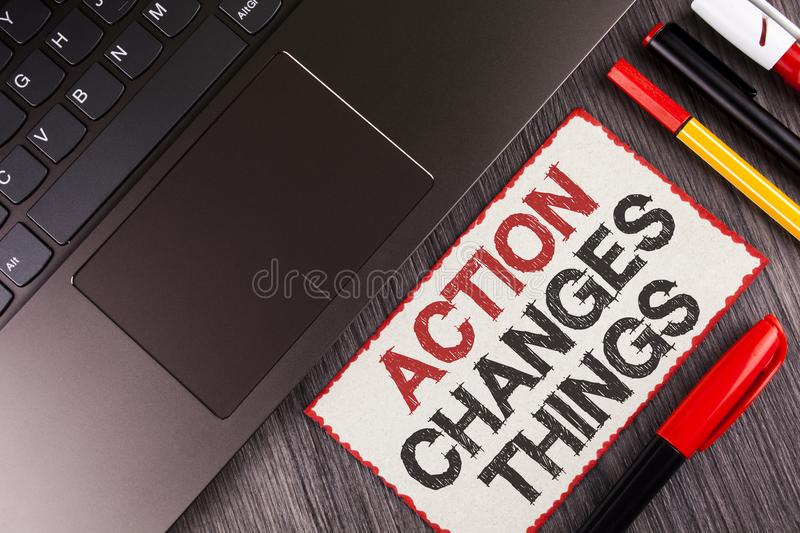 Handwriting text Action Changes Things. Concept meaning doing something is like chain Improve Reflects written on White Sticky Not. Handwriting text Action royalty free stock image