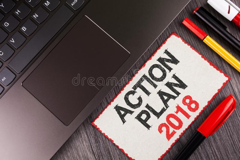 Handwriting text Action Plan 2018. Concept meaning to do list in new year New year resolution goals Targets written on White Stick. Handwriting text Action Plan royalty free stock image
