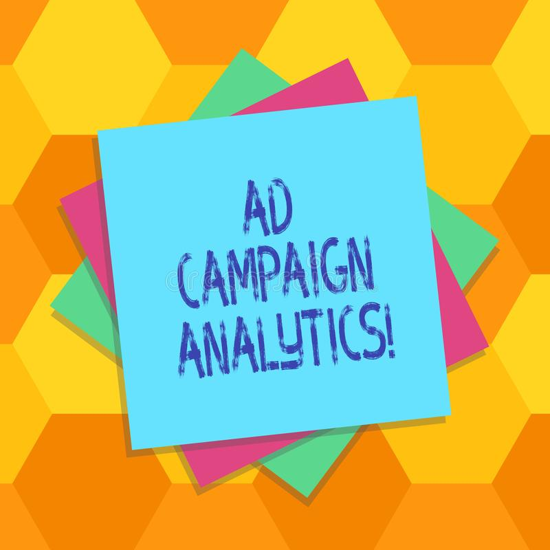 Handwriting text Ad Campaign Analytics. Concept meaning monitor campaigns and their respective outcomes Multiple Layer. Of Blank Sheets Color Paper Cardboard vector illustration